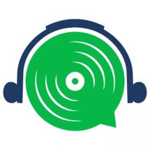 barrierefrei aufgerollt Logo; grüne Scheibe mit schwarzen Kopfhörern