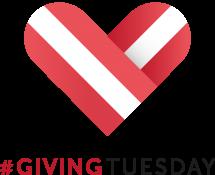 Logo von Giving Tuesday, ein rot-weiss-rotes Herz, darunter der Schriftzug #Giving Tuesday